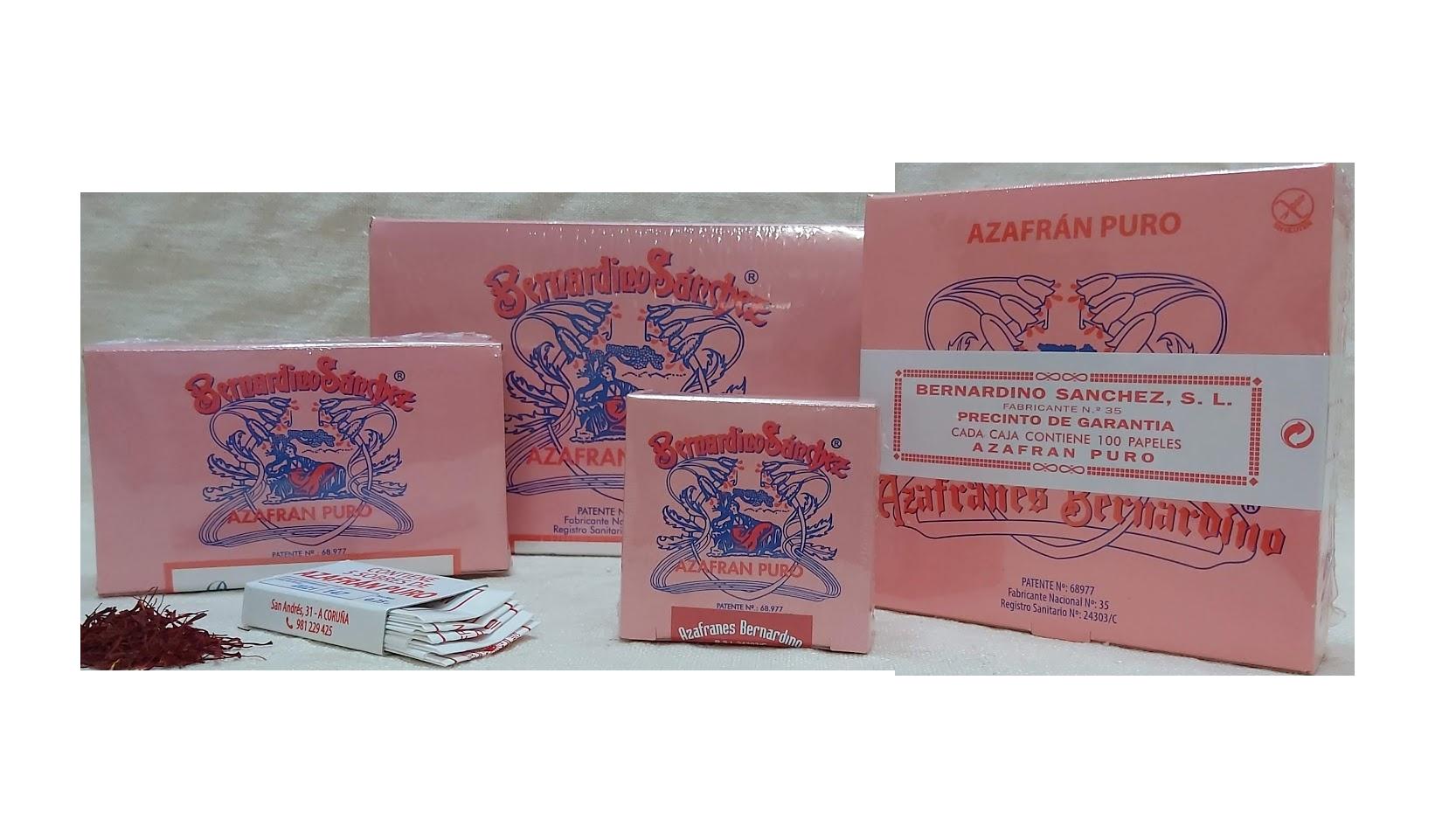 Azafranes Bernardino · Cajas de azafrán puro molido